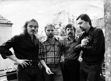 Christian Kunert, Gerulf Pannach, Wolf Biermann und Jürgen Fuchs in Berlin (West) (August 1977)