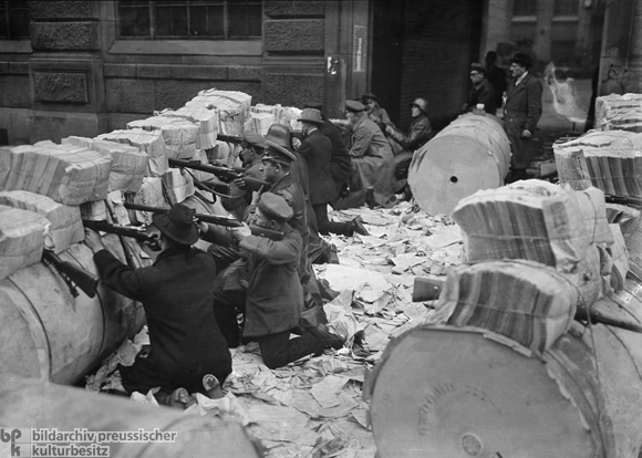 Newspaper Roll Barricades in Front of the Mosse Publishing House (January 11, 1919)