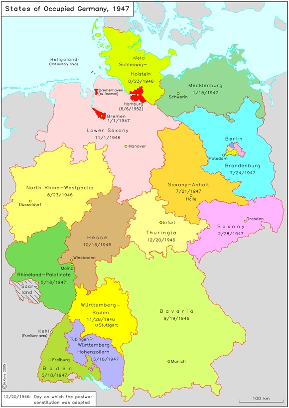 states of occupied germany lnder 1947