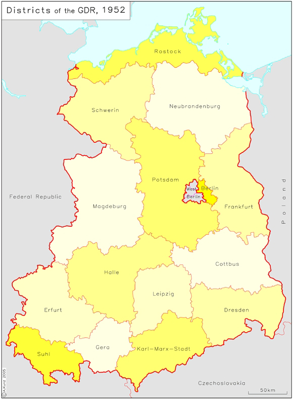 districts bezirke of the german democratic republic