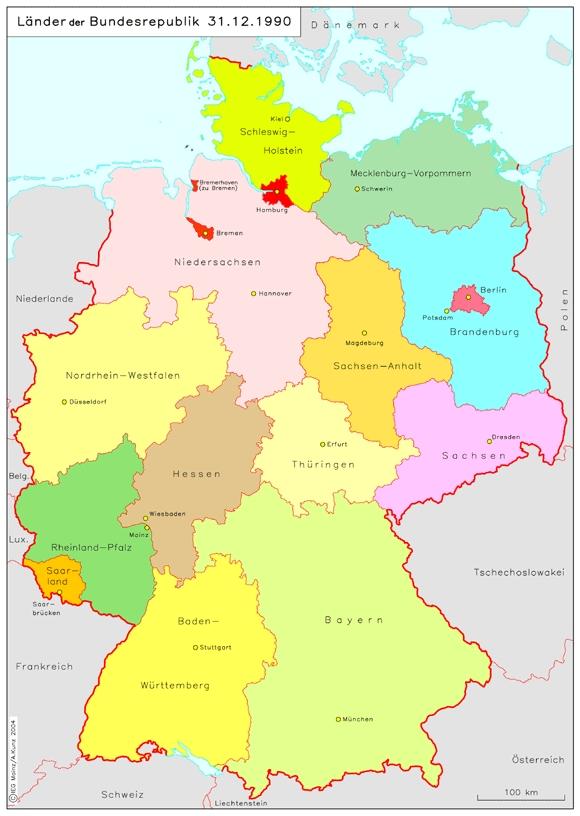 delstater i tyskland kort