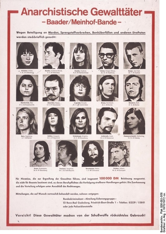 "Wanted Poster: ""Baader/Meinhof Gang"" (c. 1970-72)"