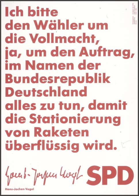 SPD Poster for Bundestag Elections: Hans-Jochen Vogel (1983)