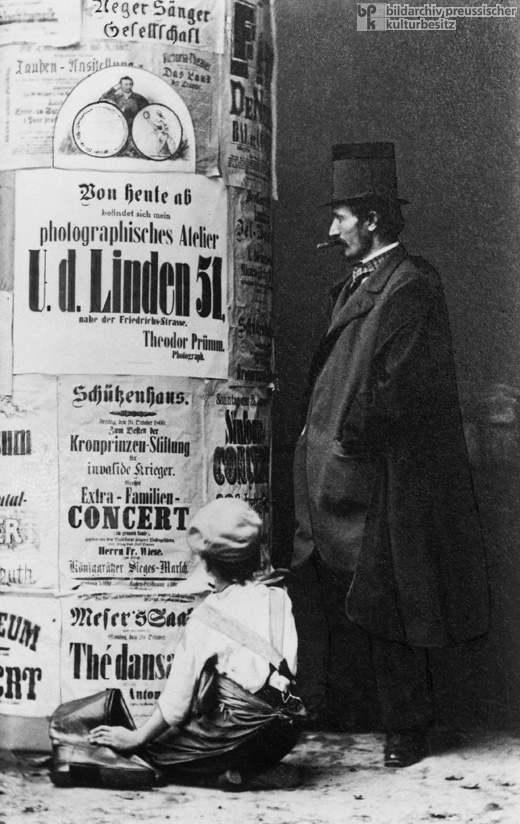 One of the First Advertisement Pillars Designed by Ernst Litfaß in Berlin (c. 1860)