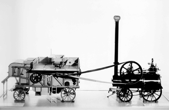 Threshing Machine and Locomotive (c. 1885)