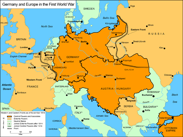 GHDI Map - Europe world war1 map 1914