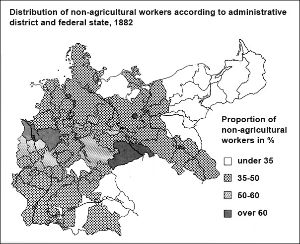 Proportion of Non-Agricultural Workers in Germany's Federal States and Prussian Provinces (1882)