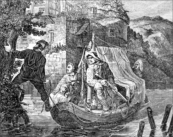 Smugglers Disembarking at a River Bank (1830)