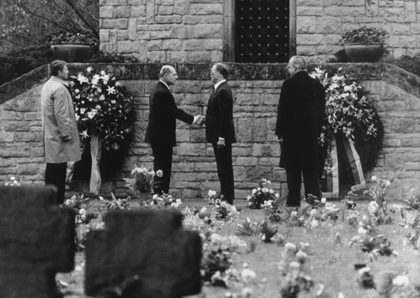 Helmut Kohl and Ronald Reagan at the Military Cemetery in Bitburg (May 5, 1985)