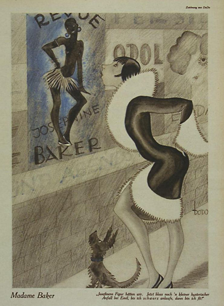 Josephine Baker Caricature from the Magazine <i>Ulk</i> (November 16, 1928)