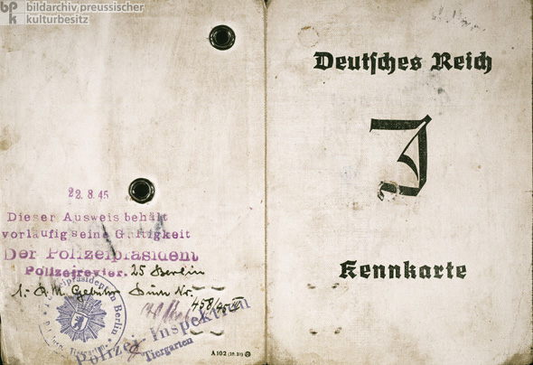 Front and Back Covers of a Compulsory Identification Card for Jews, Issued in Berlin (1939)