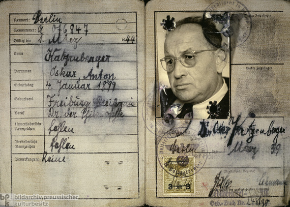 Inside of a Compulsory Identification Card for Jews, Issued in Berlin (1939)