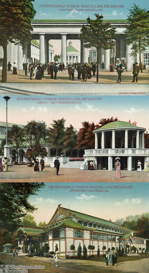 International Hygiene Exhibition in Dresden: Postcards of the Main Entrance, Concert Area, and Japanese State Pavilion (1911)