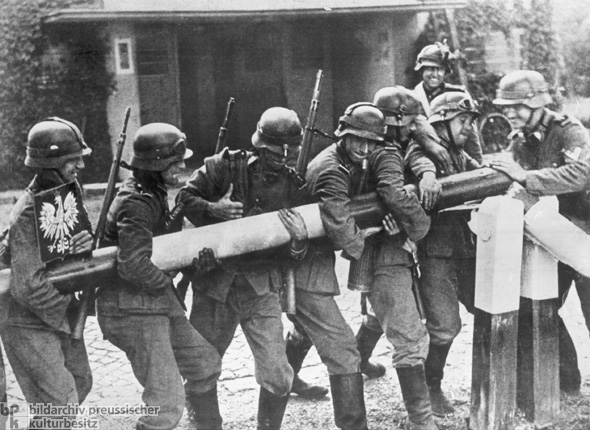 German Soldiers Dismantle a Polish Border Barrier (September 1, 1939)