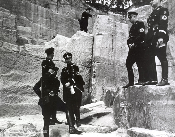 Heinrich Himmler Views Ancient Germanic Rune Markings in a Palatinate Quarry (1935)