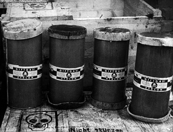 Airtight Containers of Crystals for the Poison Gas Zyklon B, Intended for Use at Auschwitz (c. 1942-1945)