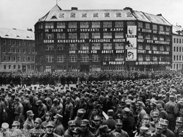 The Karl Liebknecht House, Central Party Headquarters of the German Communist Party, on Bülowplatz in Berlin (January 22, 1933)