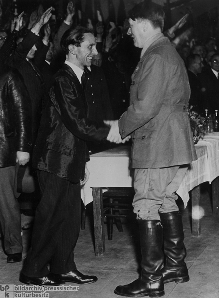 Berlin <I>Gauleiter</i> Joseph Goebbels Greets Adolf Hitler at a Campaign Event in Berlin (January 20, 1933)