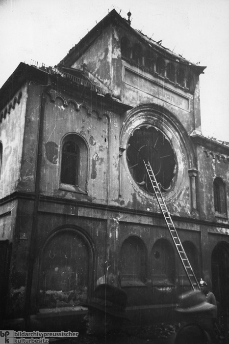 The Morning after the Night of Broken Glass [<I>Kristallnacht</i>] in Munich: The Destroyed Synagogue on Reichenbachstrasse in Munich (November 10, 1938)