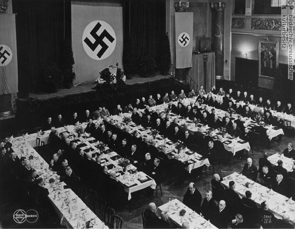A Company Party at Rhein Metal-Borsig Company, with Swastika Decorations (1937)