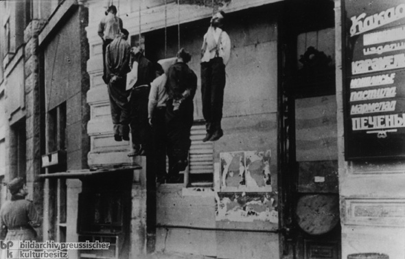 Occupation Terror in the Soviet Union: Partisans are Hanged to Deter Others (c. 1943)