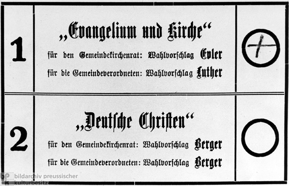 Ballot for the Church Elections in Berlin (July 23, 1933)
