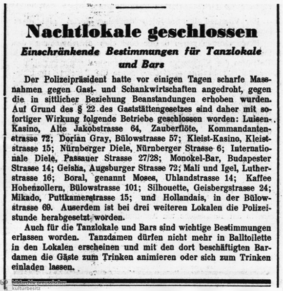 The <i>Berliner Tageblatt</i> [<i>Berlin Daily</i>] Lists the Gay and Lesbian Bars Closed by Berlin's Chief of Police (March 4, 1933)
