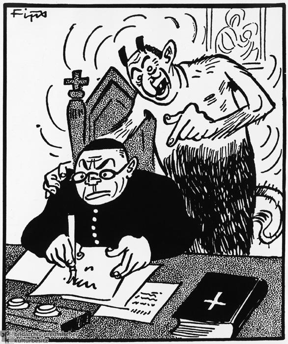 <i>Der Stürmer</i>: Der Teufel souffliert einem katholischen Priester seine antinationalsozialistischen Parolen (Mai 1938)