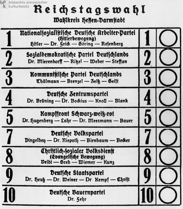 1933 Election Campaign: Ballot for the Reichstag Election in the Hesse-Darmstadt Electoral District (March 5, 1933)