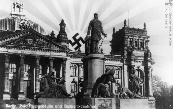 The Swastika Rises like the Sun over the Reichstag and the Bismarck Memorial, Postcard (undated)