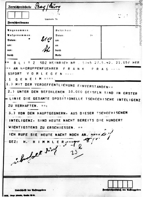 Heinrich Himmler's Order for the Arrest and Execution of Members of the Oppositional Czech Intelligentsia in Response to the Attack on Reinhard Heydrich (May 27, 1942)