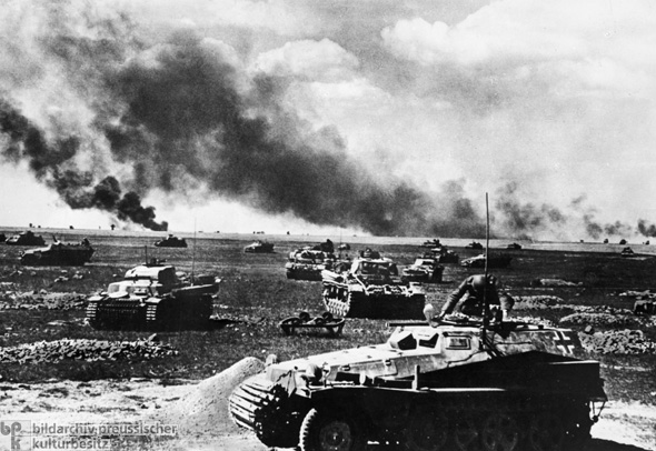 Invasion of the Soviet Union: A Group of German Tanks before their Deployment (June 22, 1941)