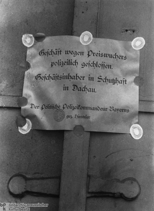 Himmler Announces the Closure of a Jewish Shop in Munich – the Proprietor had been Transported to Dachau (May/June 1933)