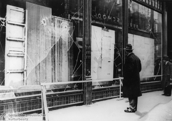 The Morning after the Night of Broken Glass [<I>Kristallnacht</i>] in Berlin: Shattered Shop Windows (November 10, 1938)