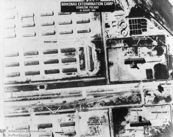 American Aerial Photo of the Auschwitz-Birkenau Camp Complex (Women's Camp on the Left) (August 25, 1944)