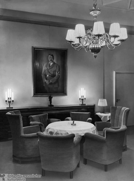 The Lounge at the German Press Club, Berlin, with a Portrait of Hitler on the Wall (1935)