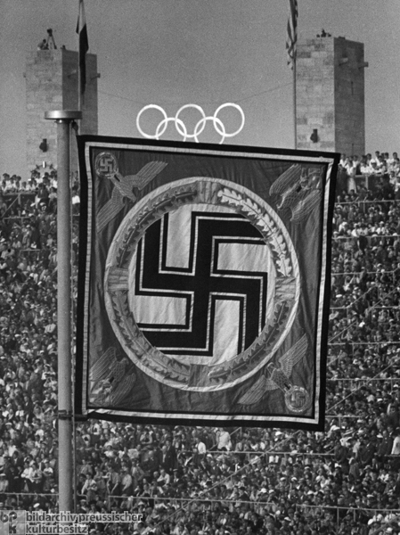 Führer Pennant in the Berlin Olympic Stadium during the Olympic Games (1936)