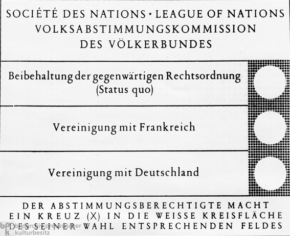 Ballot for the Saarland Referendum (January 13, 1935)