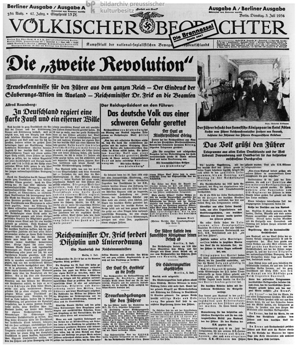 The Front Page of the <i>Völkischer Beobachter</i> Justifies the Purge in Response to the So-Called Röhm Putsch (July 3, 1934)