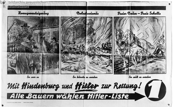 Hindenburg and Hitler to the Farmers' Rescue: National Socialist Election Poster for the Reichstag Election (March 5, 1933)