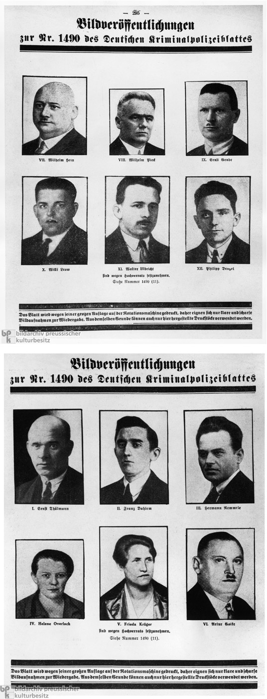 Communist Party Functionaries Wanted by the German Criminal Police (1933)