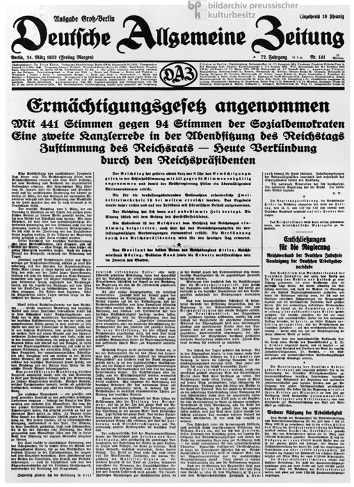 Enabling Act Adopted: Front Page of the <i>Deutsche Allgemeine Zeitung</i> (March 24, 1933)