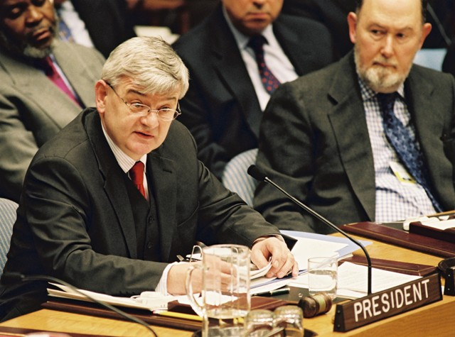 Joschka Fischer as Acting Chairman of the U.N. Security Council (February 5, 2003)