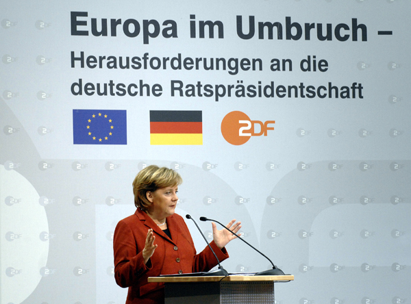 Chancellor Angela Merkel during a Speech on Germany's Upcoming Presidency of the European Union (December 13, 2006)