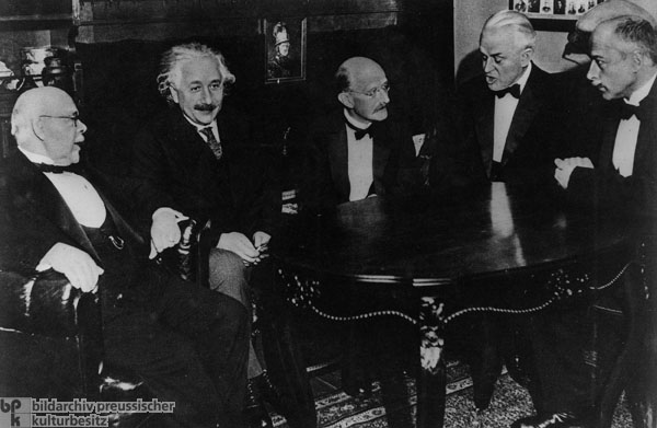Nobel Prize Winners Walther Nernst, Albert Einstein, Max Planck, Robert Millikan, and Max von Laue in Berlin (November 1, 1931)