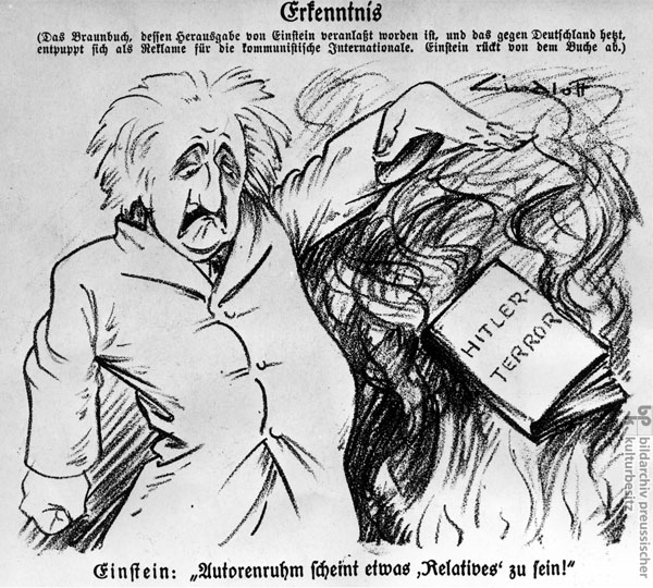 """Albert Einstein: Authorial Fame Seems to be Relative!"" Caricature of Einstein's Political Activity, <i>Kladderadatsch</i>, No. 39 (September 1933)"