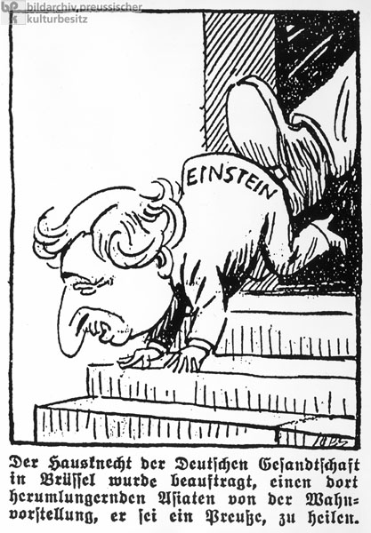 """A Poor Fool"": Caricature of Einstein in Response to his Application for Emigration, <i>Deutsche Tageszeitung</i> (April 1, 1933)"