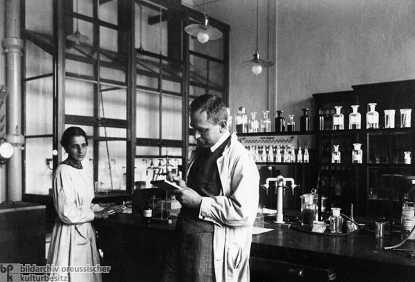 Lise Meitner and Otto Hahn at the Kaiser Wilhelm Institute for Chemistry in  Berlin (1928)