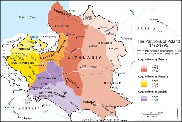 The Partitions of Poland, 1772-1795. Source: Paul Robert Magocsi,