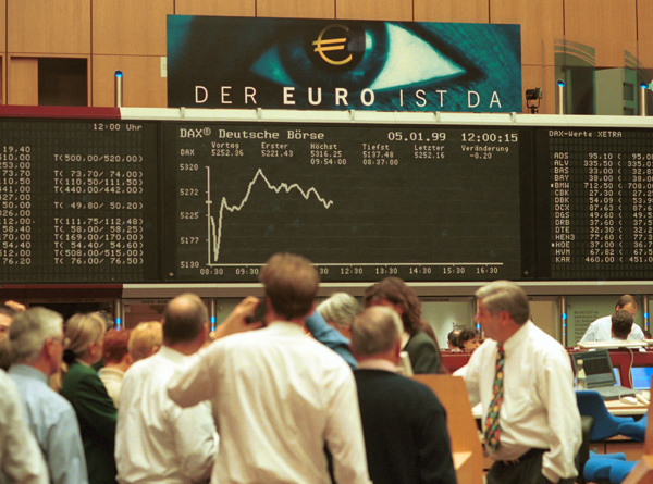 Frankfurt Stock Exchange Market after the Euro was Introduced as Deposit Currency (January 5, 1999)